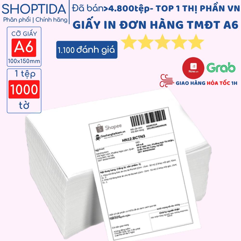 Giấy in nhiệt Shoptida A6 in đơn hàng, tem, mã vạch, phiếu gửi hàng, decal, dán, dùng cho máy in bill và máy in nhiệt