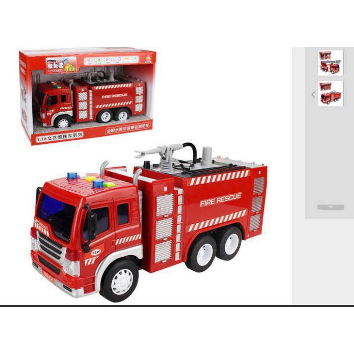 Combo 2 xe cứu hỏa mô hình xe cứu hỏa phun nước thật tỉ lệ 1:16