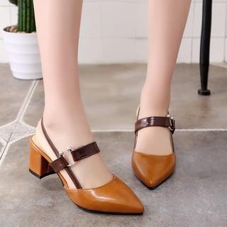 giày cao gót công sở/freeship từ 150k/Giày gót vuông hở gót phong cách Hàn
