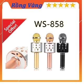 Míc hát karaoke Míc bluetooth WS-858 ĐA NĂNG 6 TRONG 1 HÁT KARAOKE, BẢO HÀNH 3 THÁNG thumbnail
