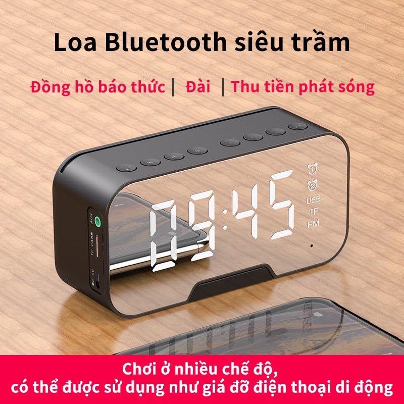 Loa bluetooth kiêm đồng hồ báo thức G10 màn hình tráng gương hiển thị đèn led nghe đài fm radio