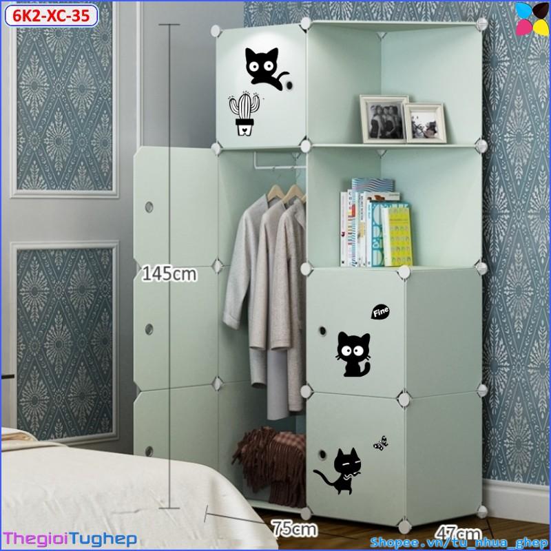 Tủ nhựa lắp ghép 6 ô 2 kệ, nhiều màu, chọn theo phân loại (xanh cốm mèo đen, xanh cửa hồng hoa đào)