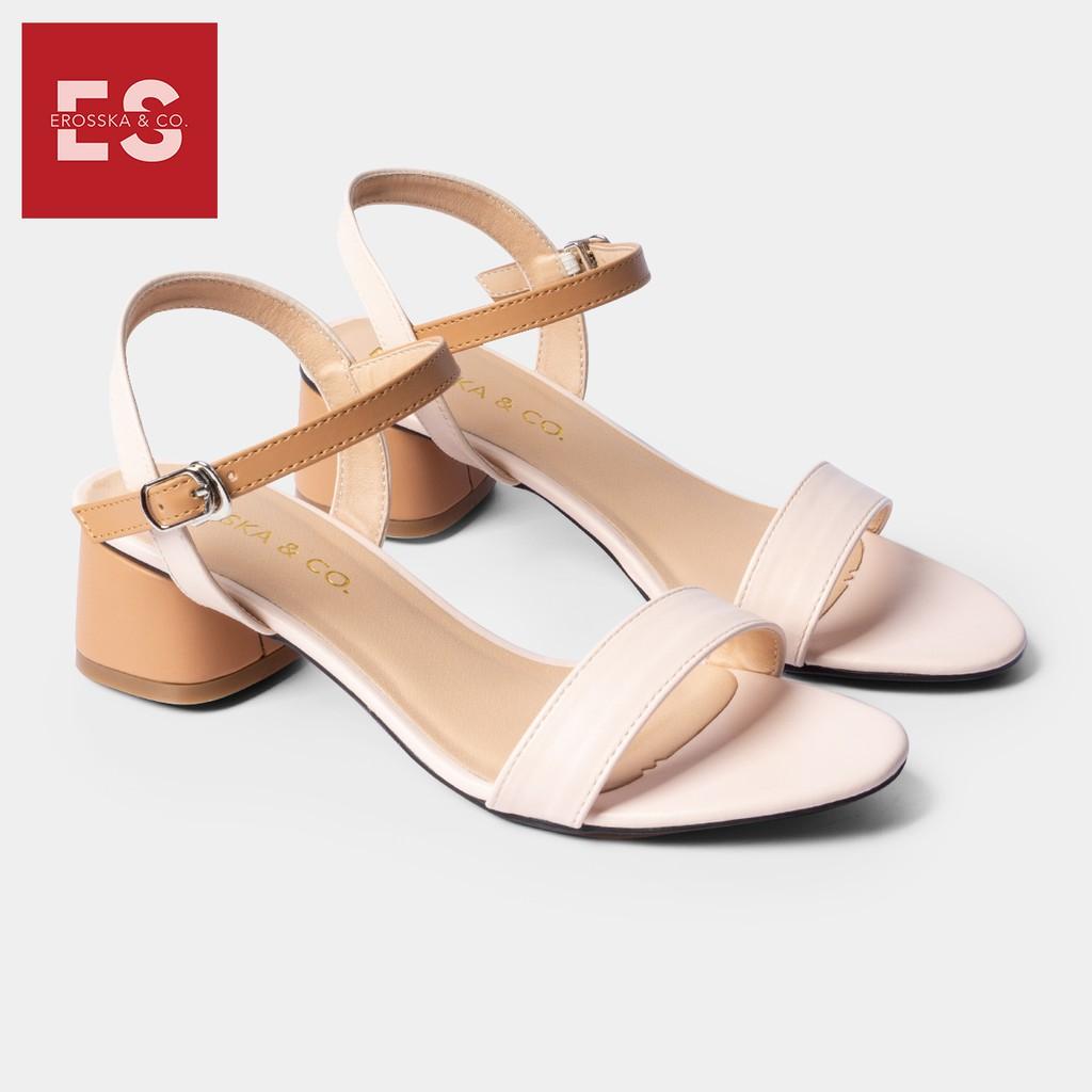 Giày sandal cao gót Erosska thời trang mũi tròn phối dây nhiều màu tinh tế cao 3cm màu cam phối kem - EB019