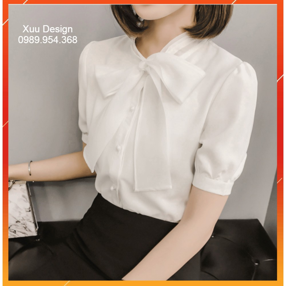 Áo Sơ Mi Trắng Thắt Nơ, Chất Vải Đẹp, Hàng Thiết Kế Xuu Design [ẢNH THẬT-SP01]