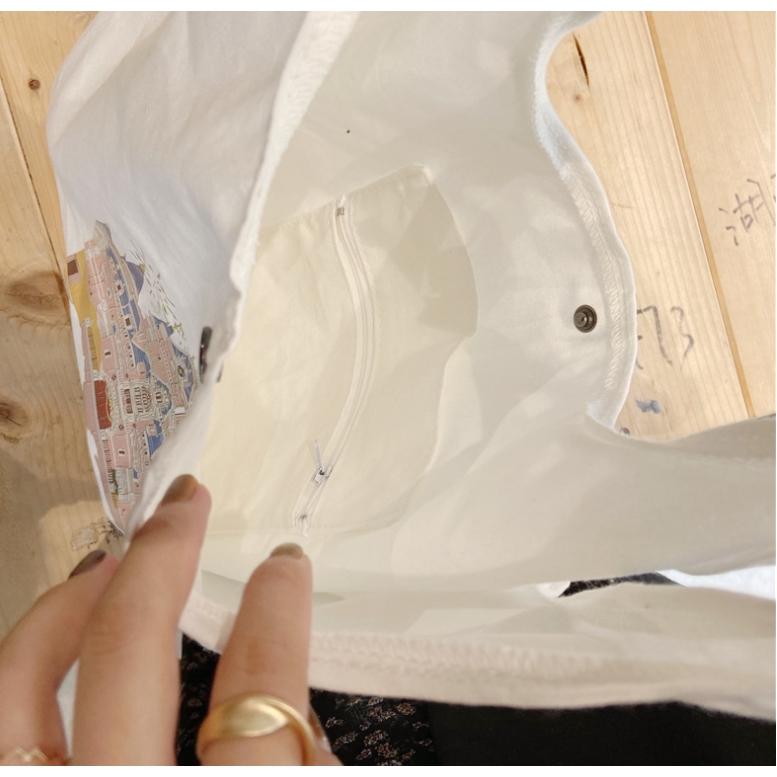 Túi totte đeo chéo giá rẻ vải canvas mềm trơn đẹp đi học TX722