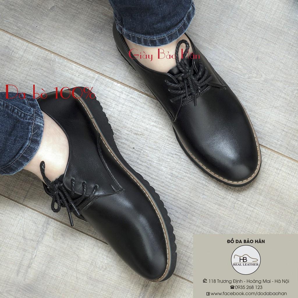 Giày da sneaker cổ thấp da bò[BH02]