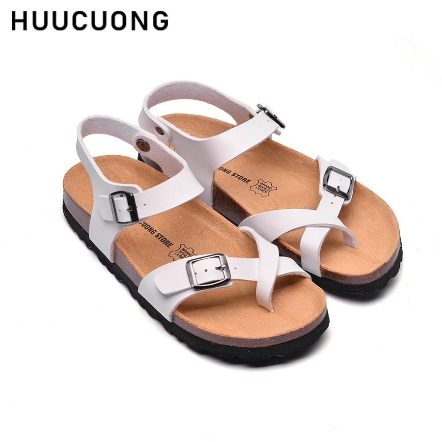 Sandal HuuCuong xỏ ngón trắng đế trấu