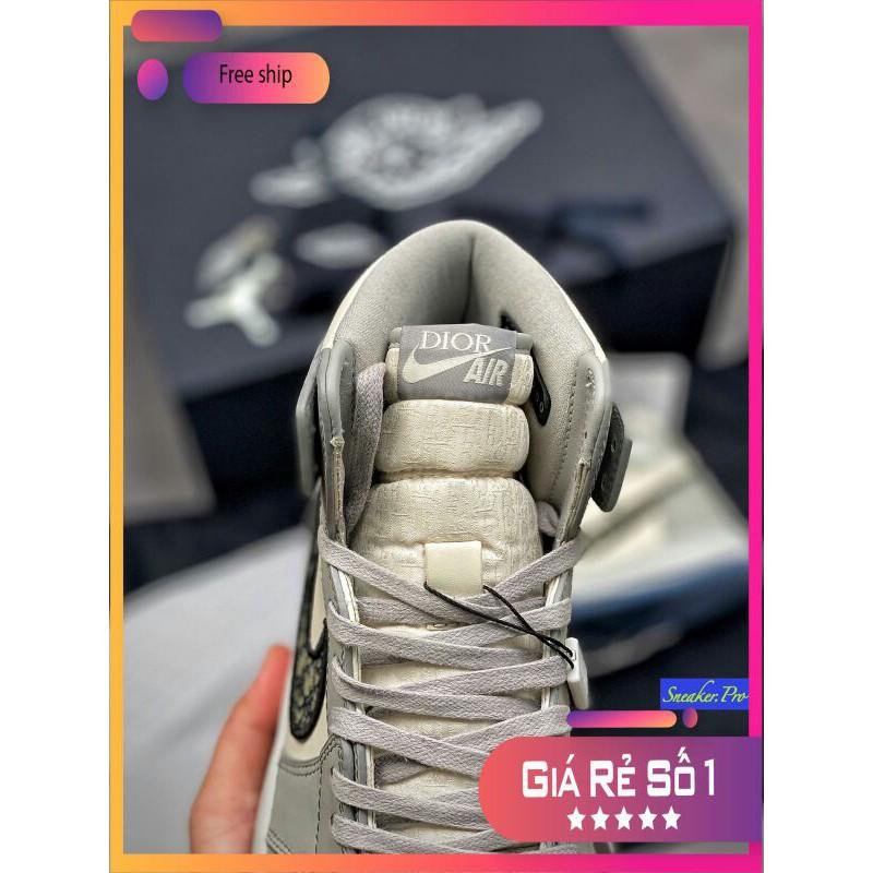 Giày thể thao AIR JORDAN 1 Xám trắng cổ cao siêu đẹp cho nam và nữ siêu đẹp ⁸ :; ` ' ! ࿅ : `