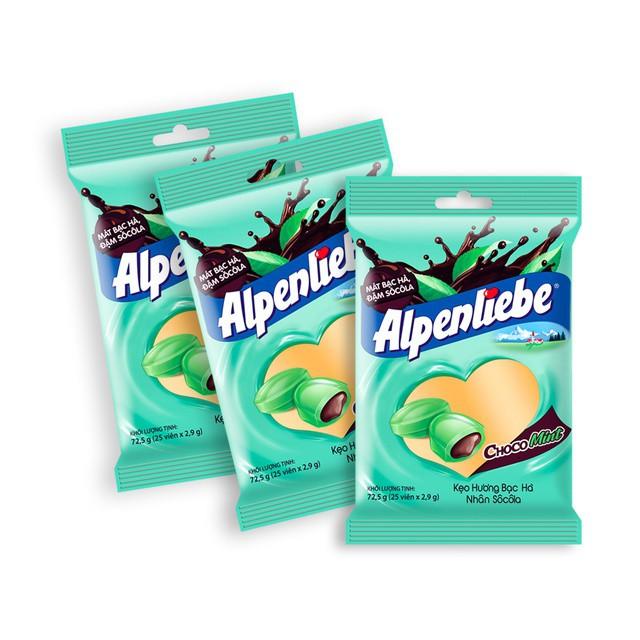 Combo 3 gói kẹo Alpenliebe Hương Bạc Hà Nhân Sôcôla 25 Viên/gói
