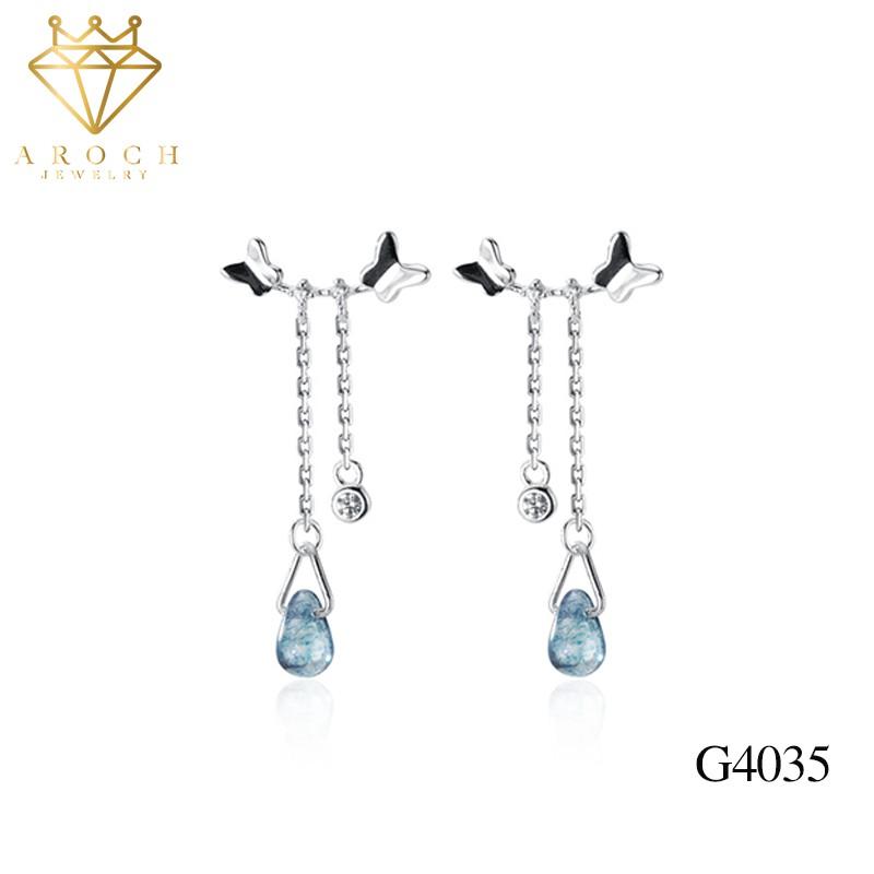 Khuyên tai bạc Ý s925 cánh bướm thả đá G4035- AROCH Jewelry