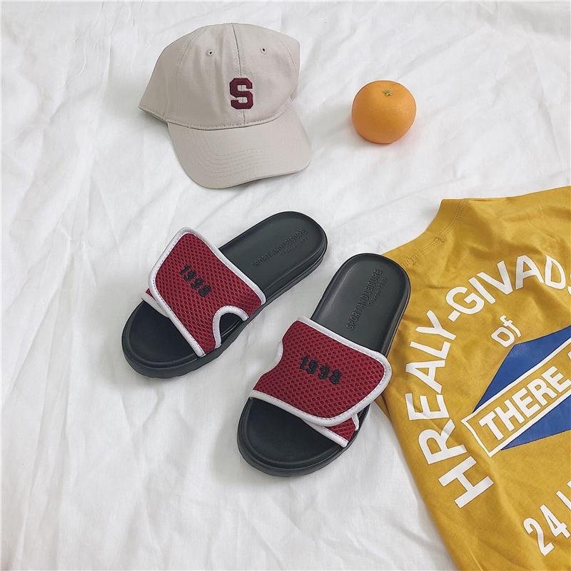 ☋Hong KONG-flavored INS wind magic sticker slippers female summer outside wear Korean version of Chic Harajuku 1998 Bea