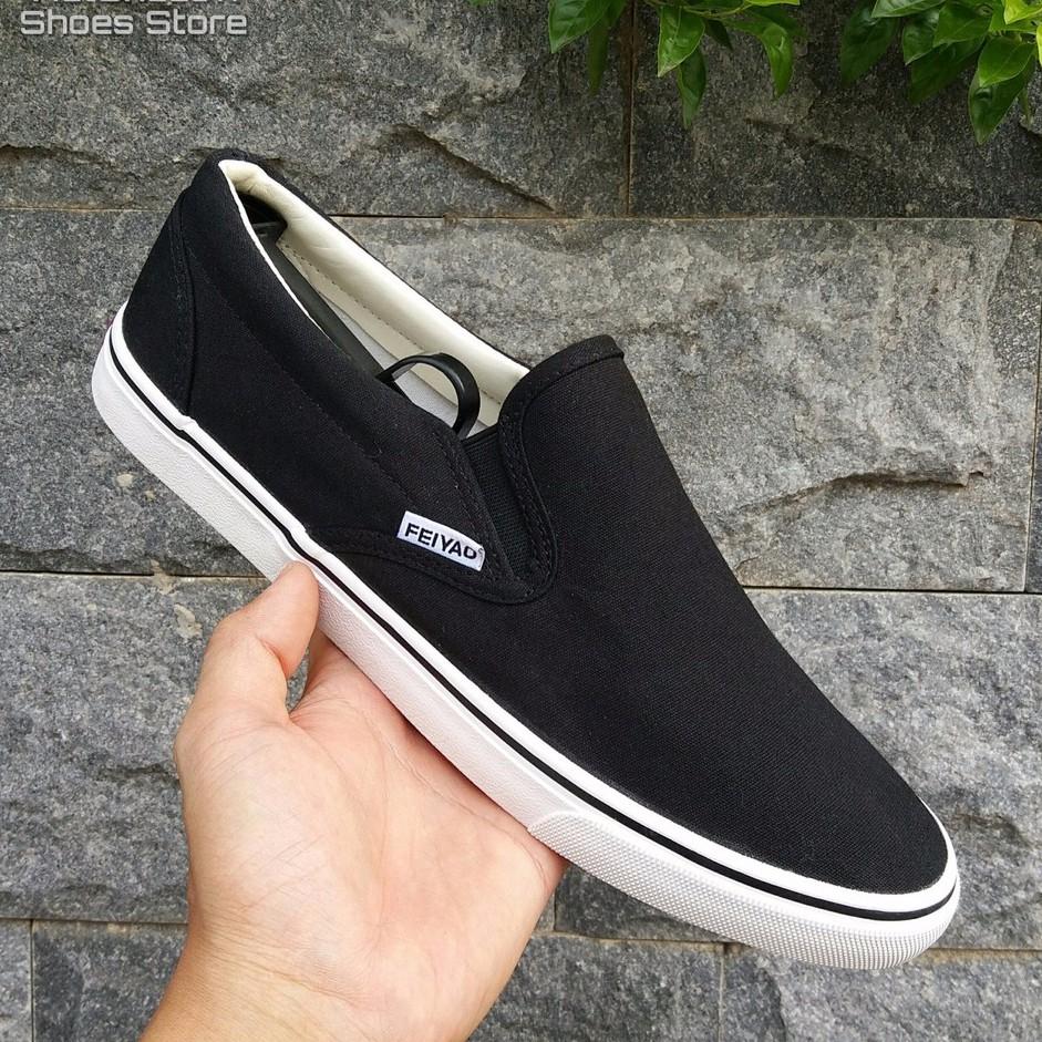 Slip on nam | Giày lười vải nam dáng classic vải đen, đế trắng, fullbox - Mã SP 177