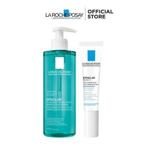 Bộ Gel rửa mặt và tắm giúp làm sạch bã nhờn, giảm mụn thâm sẹo La Roche-Posay Effaclar Micro-Peeling Purifying Gel