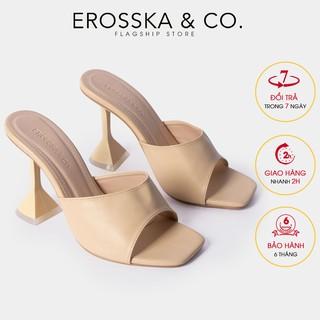 Dép cao gót Erosska mũi vuông đế nhọn hình nón cao 9cm màu nude _ EM061