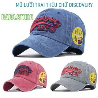 Mũ lưỡi trai thêu chữ Discovery, Nón Unisex phong cách bóng chày thêu chữ kiểu dáng rách bụi, cao cấp[babo.store]