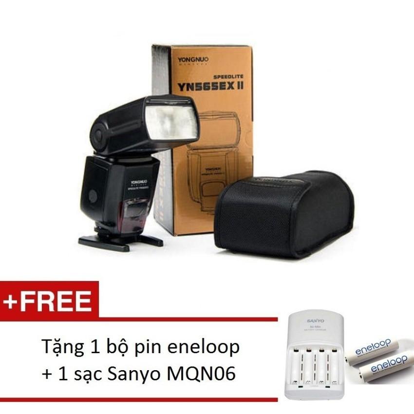 Combo Đèn Flash Yongnuo YN-565EX for Canon/Nikon + 1 bộ pin eneloop trắng + sạc Sanyo MQN06