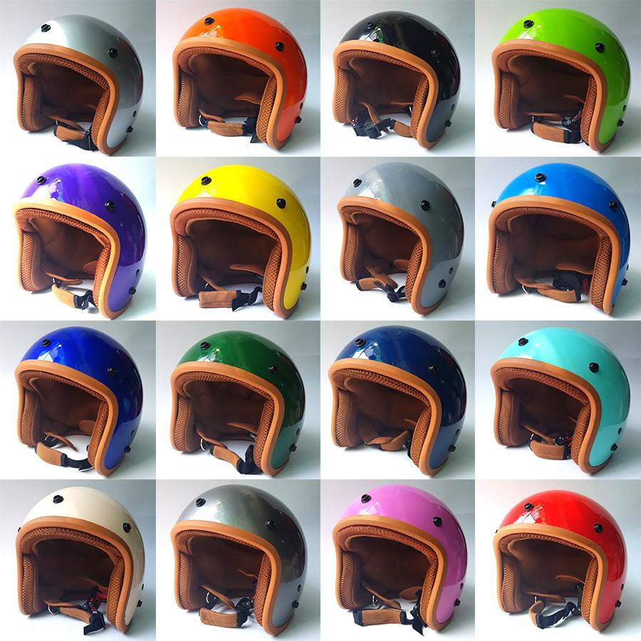 [ Hình Thật - 17 Màu ] Mũ Bảo Hiểm 3/4 đầu Lót Nâu Cao Cấp Như Hình SƠN BÓNG - Hàng CTY-Cam Kết Chất Lượng Giống Hình