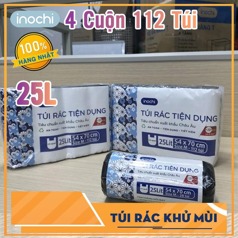 Lô 4 cuộn túi rác Inochi tiện dụng 25L