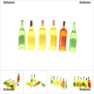 Babynew 6pcs Colorful Wine Bottles Miniature For 1:12 Dollhouse Kitchen Decor