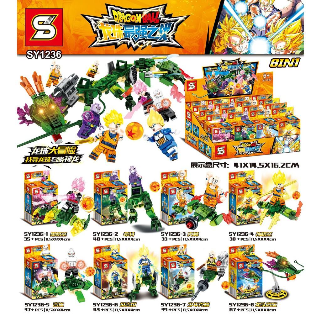 Đồ chơi lắp ráp Lego minifigures xếp hình sy 7 viên ngọc rồng - songoku 1236 trọn bộ 8 hộp.