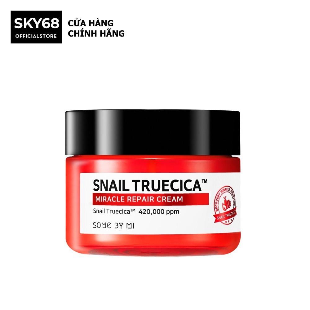 Kem dưỡng ẩm phục hồi, cải thiện sẹo lỏm chiết xuất ốc sên Some by mi Snail truecica Miracle Repair Crea