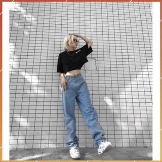 1hitshop Quần Jeans Nữ Ống Rộng SIMPLE JEANS Xanh Nhạt Lưng Cao Dáng Suông Ulzzang