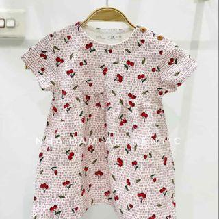 (Zara auth sale nấc cuối bồ đào nha )Váy zara họa tiết quả chery dày dặn cho bé gái