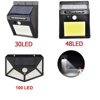 Đèn năng lượng mặt trời Đèn led treo tường cảm biến chuyển động 30led/48led/100led-hoacuonghn