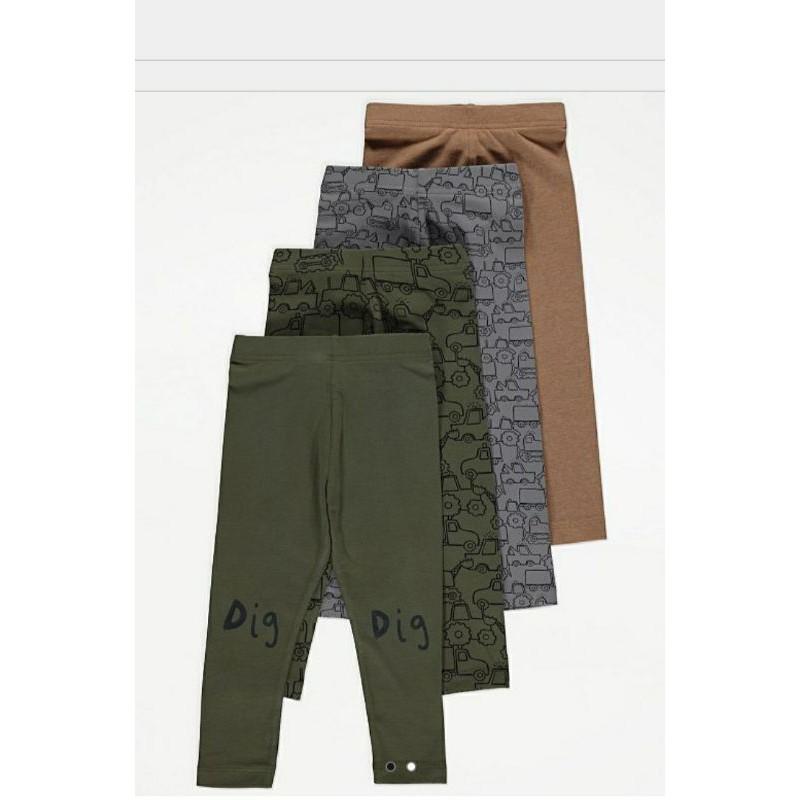 Set 4 legging cotton Khaki Truck bé trai G.eorge UK Auth size 1-5y