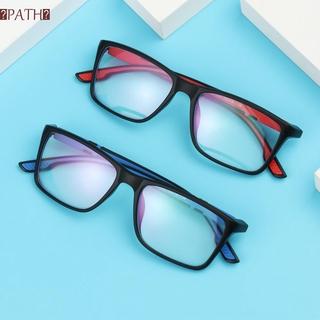 PATH Fashion Anti-Blue Light Eyeglasses Vintage Progressive Multifocal Lens Reading Glasses Portable Women Men Comfortable Eye Protection Ultra Light Frame/Multicolor