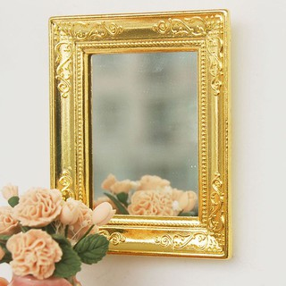 1:12 Golden Square Framed Mirror for Dollhouse