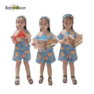 Bộ quần áo Lụa Vai Nhún Bèo hình Trái Cây bé gái BabyBean kèm Băng-Đô (8kg-20kg) thumbnail