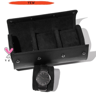 YEW Men Watch Roll Travel Case Watch Roll PU Leather Organizer Portable 3 Watch Storage Gifts Black Display Removable Pillows Watch Case thumbnail