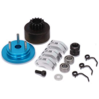 Ready Stock Clutch Bell Shoes Bearing 14T Gear Assembly Kit Nut(Blue+Silver)