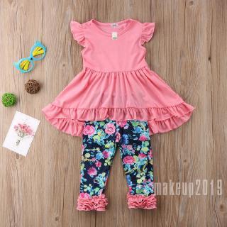 Mu♫-US Child Toddler Kids Girls Outfits Clothes Long Sleeve T shirt Tops Pants Set