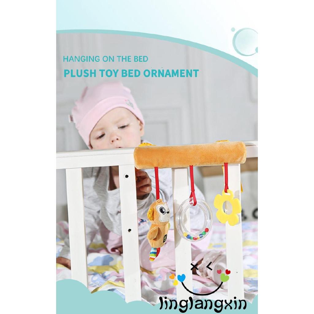 .LN-Cartoon Animal Baby Sound Hanging Car Bed Safety Seat Plush Hand Bell Kid