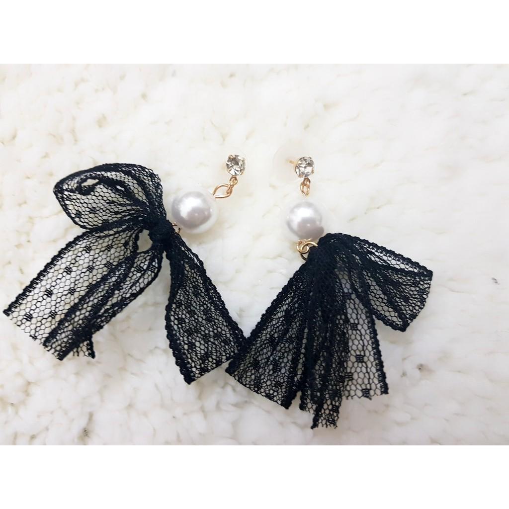 Bông tai ngọc trai nơ vải hàn Quốc thời trang E042