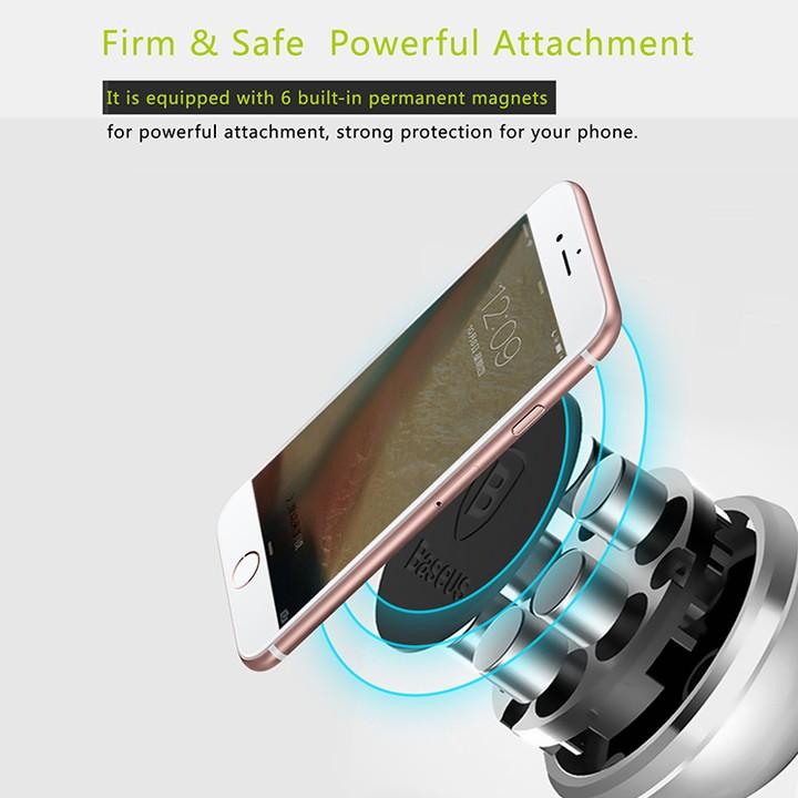 Gía đỡ điện thoại trên ô tô nhãn hiệu Baseus SULX-0S, hít nam châm, xoay 360 độ - Hàng chính hãng