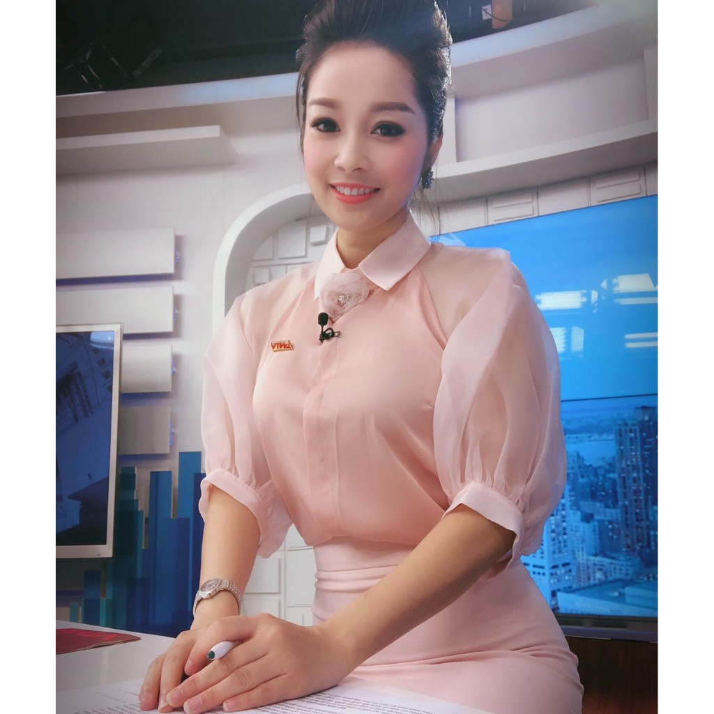 Mặc gì đẹp: Xinh xinh với Áo tay bồng hồng nhạt💖Voan lụa💖 Áo dự tiệc sang chảnh (không kèm hoa)