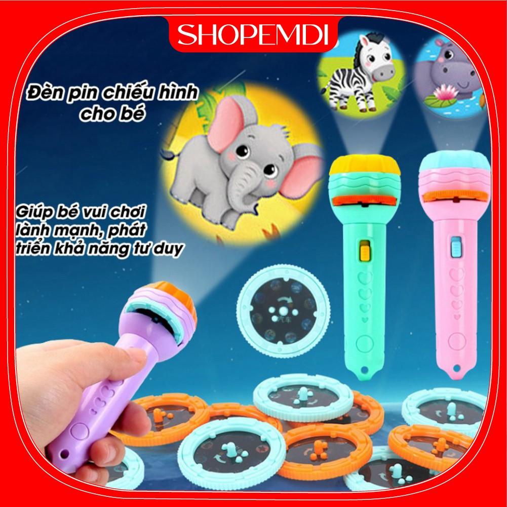 Đèn pin chiếu hình cho bé 24 hình động vật ngộ nghĩnh, đồ chơi cho bé phát triển trí tuệ bé vui chơi khám phá