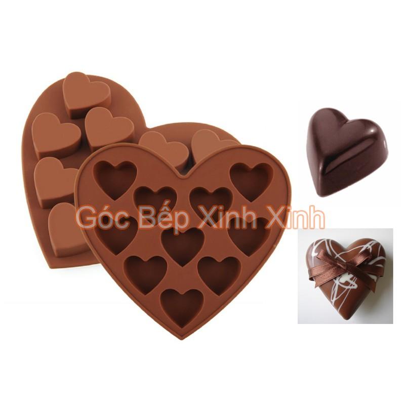 Khuộn silicon làm kẹo thạch đổ socola 10 tim trong tim