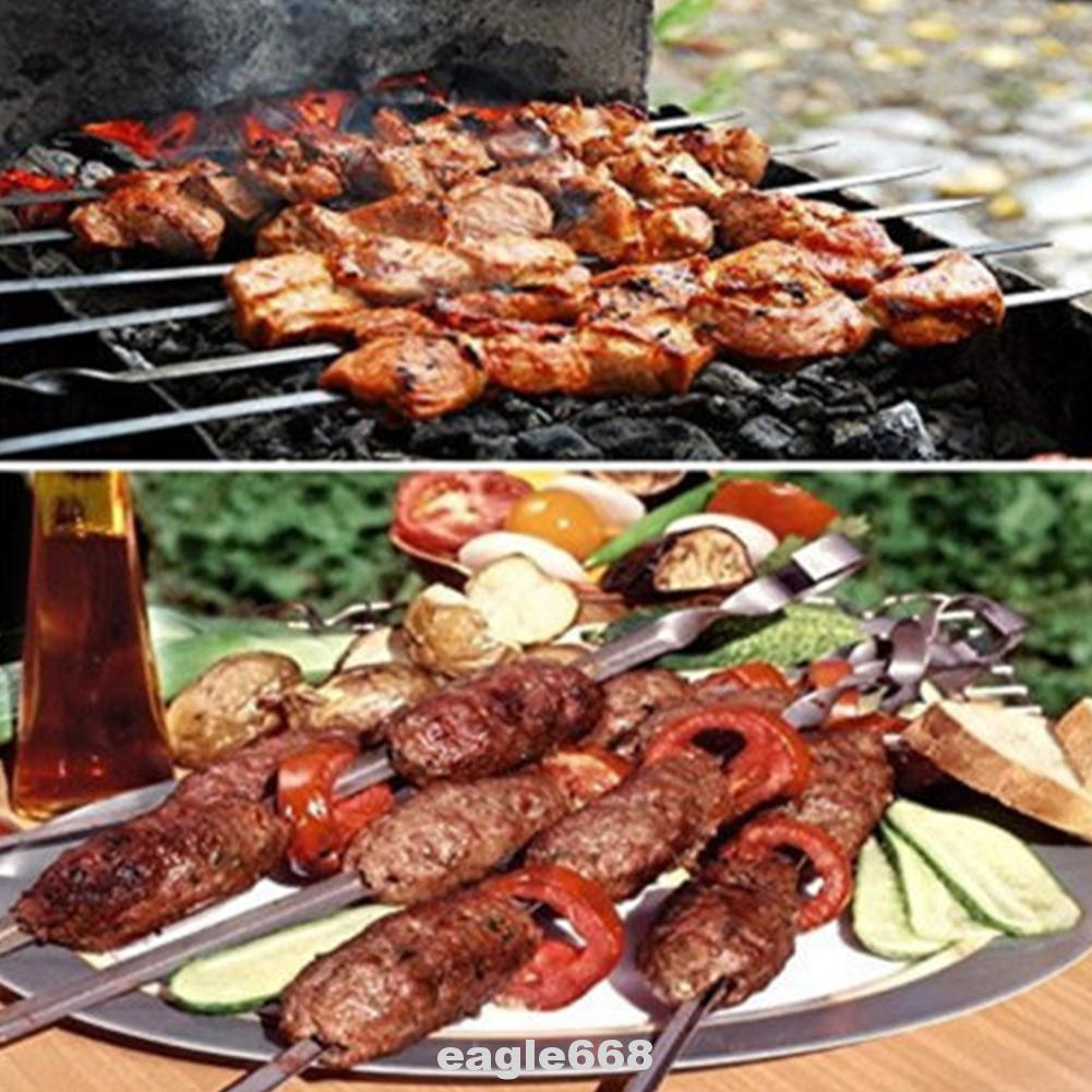 10pcs/set Barbecue Cooking Flat Outdoor Camping Reusable Stainless Steel Kitchen Skewer