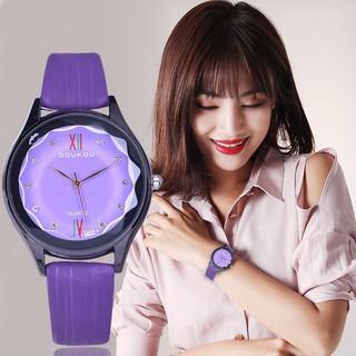 Đồng hồ nữ Doukou chính hãng dây da sọc cao cấp mặt kính 3d vát sang trọng thumbnail
