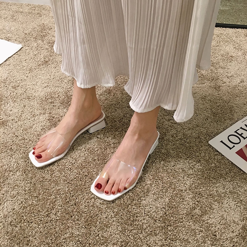 รองเท้าแตะสวม 2019 ins ใหม่น้ําส้นสูงสีแดงสุทธิ