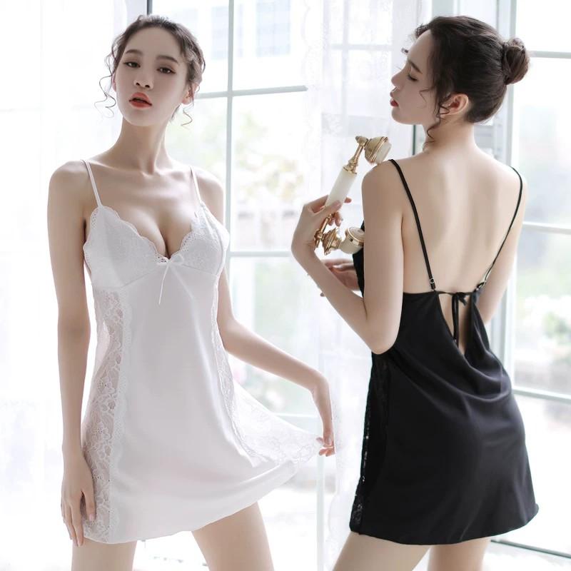Chất lượng cao hở lưng đầm voan gợi cảm  váy hai dây trắng  váy ngủ  váy hai dây đen