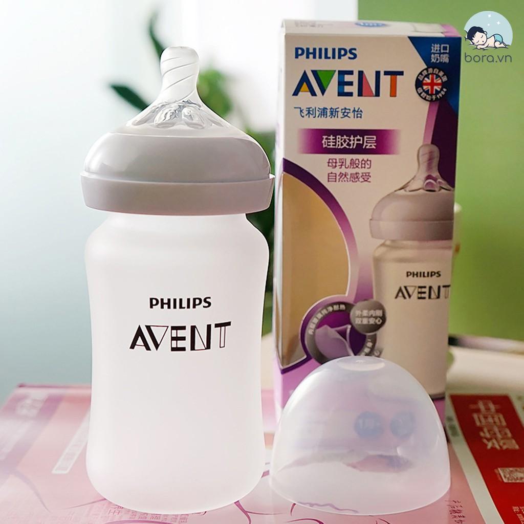 Bình sữa Avent thủy tinh tráng silicon 120ml 240ml [Được chọn núm 0 - 5][Cam kết chính hãng]