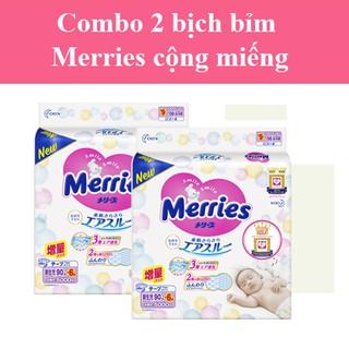 Combo 2 bịch bỉm dán quần MERRIES cộng miếng nội địa Nhật NB96 S88 M68 L58 M64 L50 Xl44 XXL28 thumbnail