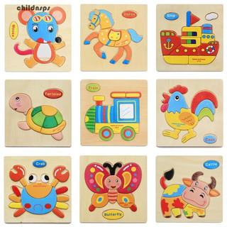 Wooden 3D Puzzle Jigsaw Kids Children Cartoon Animal Intelligence Educational Toy