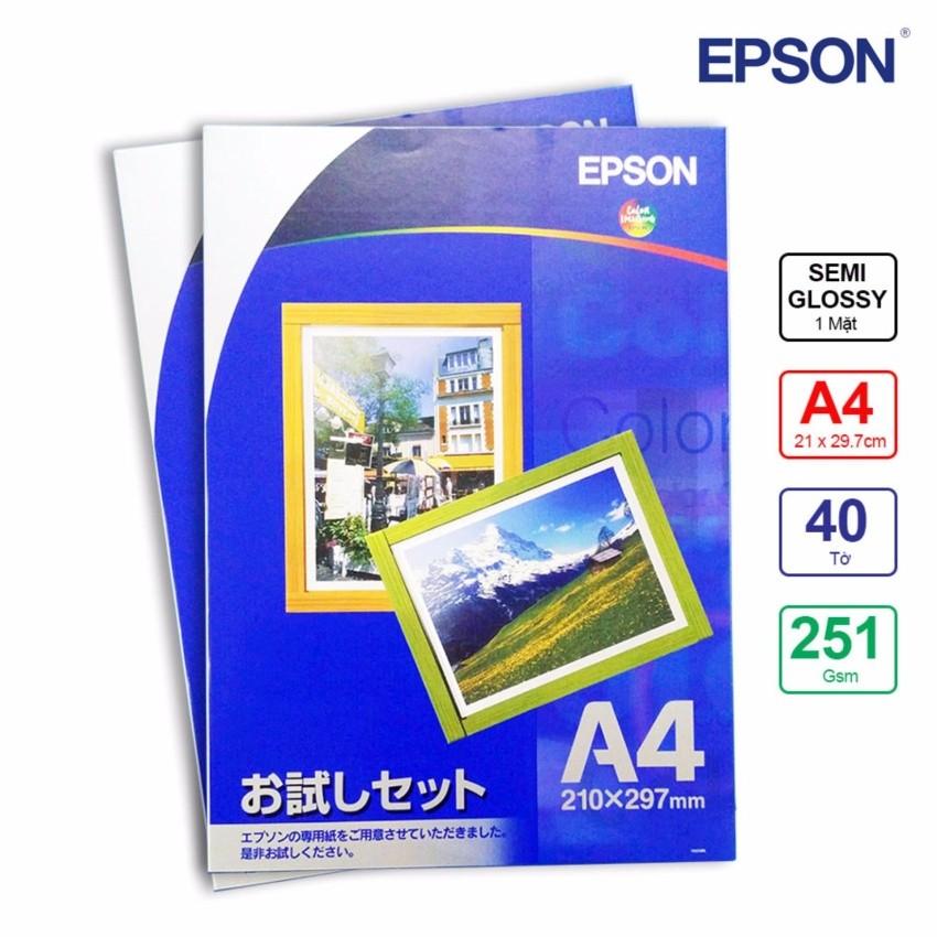 Bộ 2 Xấp Giấy In Ảnh Epson 1 Mặt Lụa A4 251gsm 20 Tờ x 2