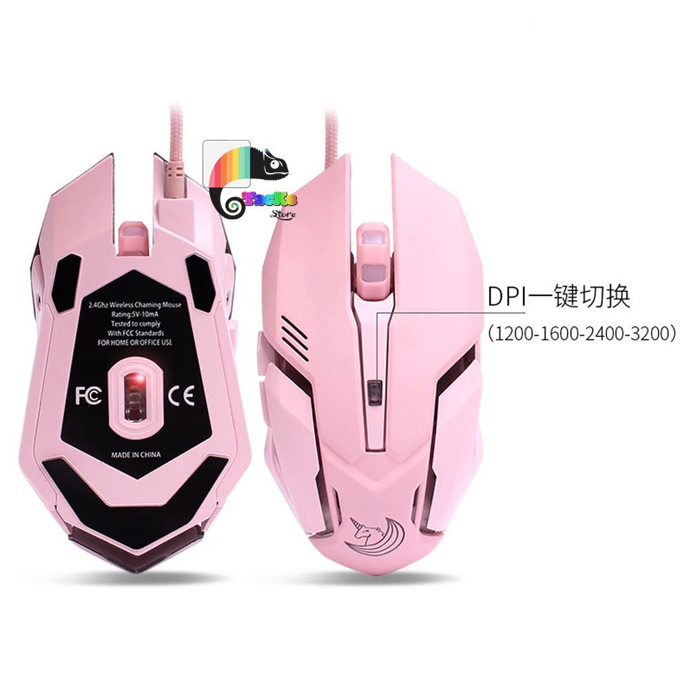 Chuột Game thủ màu Hồng có LED dễ thương HMO-161 Chuyên game I Gaming Mouse Pink Color Cute, silent click